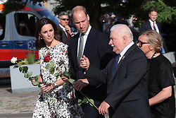 The Duke and Duchess of Cambridge with former Polish president Lech Walesa during a visit to the Gdansk shipyard, the birthplace of Poland's Solidarity movement that helped topple Communist rule.