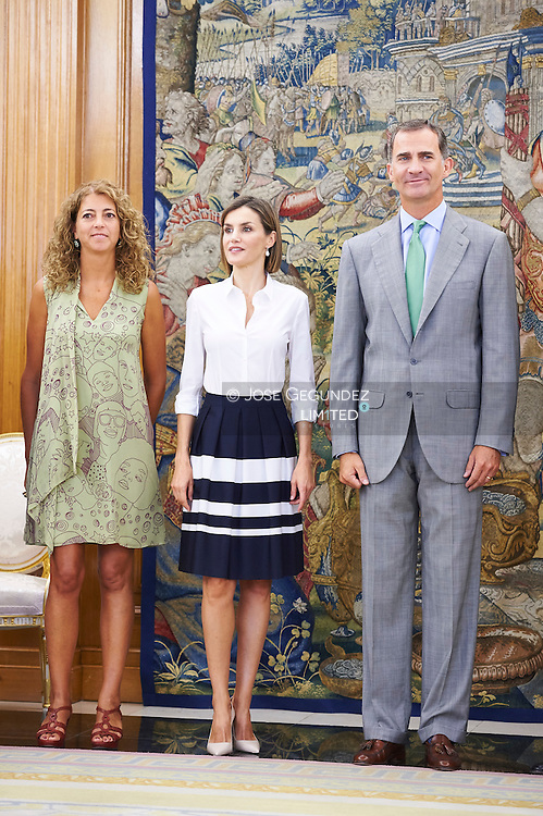 King Felipe VI of Spain and Queen Letizia of Spain attend an audience to the Executive Committee of the Union of Business Associations of the Spanish Cultural Industry at Palacio de la Zarzuela on September 2, 2015 in Madrid