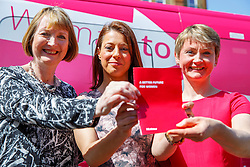 © Licensed to London News Pictures. 15/04/2015. LONDON, UK. Labour Party shadow cabinet members Gloria De Piero, Harriet Harman and Yvette Cooper launching Labour's Women's Manifesto at Stockwell Gardens Nursery in south London on Wednesday, 15 April 2015. Photo credit : Tolga Akmen/LNP