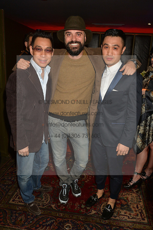 Centre,  Club owner LUCA MAGGIORA at a party to celebrate the 1st anniversary of Hello! Fashion Monthly magazine held at Charlie, 15 Berkeley Street, London on 14th October 2015.