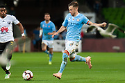 MELBOURNE, VIC - NOVEMBER 09: Melbourne City defender Scott Jamieson (3) runs the ball downfield in a flock of seagulls at the Hyundai A-League Round 4 soccer match between Melbourne City FC and Wellington Phoenix on November 09, 2018 at AAMI Park in Melbourne, Australia. (Photo by Speed Media/Icon Sportswire)