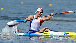 MAXIME BEAMONT (FRANCE) COMPETES IN MEN'S K1 200 METERS QUALIFICATION RACE DURING 2010 ICF KAYAK SPRINT WORLD CHAMPIONSHIPS ON MALTA LAKE IN POZNAN, POLAND...POLAND , POZNAN , AUGUST 21, 2010..( PHOTO BY ADAM NURKIEWICZ / MEDIASPORT ).
