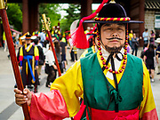 10 JUNE 2018 - SEOUL, SOUTH KOREA: The Changing of the Guard ceremony Deoksugung Palace in central Seoul, near city hall. The ceremony follows a tradition that goes back to when Korea had monarchs.    PHOTO BY JACK KURTZ