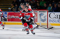 KELOWNA, CANADA - OCTOBER 5:  Rourke Chartier #14 of the Kelowna Rockets skates on the ice against the Portland Winterhawks  at the Kelowna Rockets on October 5, 2013 at Prospera Place in Kelowna, British Columbia, Canada (Photo by Marissa Baecker/Shoot the Breeze) *** Local Caption ***