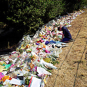 "A memorial has been placed where ?Sarah? died near the A29 in Pulborough, Sussex, England, UK. Were we to ignore this place where someone's life ended, the victim would just be a statistic but flowers are left to there too with touching poems and dedications written by family and loved-ones. One reads: ?A little Angel lent, not given/to be born on earth/and grow in Heaven/We have lost a Princess, but gained an Angel/To take you so soon is tragic we know/but when Jesus calls, you just have to go."" From a project about makeshift shrines: ?Britons have long installed memorials in the landscape: Statues and monuments to war heroes, Princesses and the socially privileged. We lay wreaths to the ordinary who die suddenly - folk killed as pedestrians, as drivers or by alcohol, all celebrated on roadsides and cities with simple, haunting roadside remembrances."