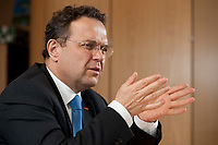 03 JAN 2011, BERLIN/GERMANY:<br /> Hans-Peter Friedrich, MdB, CSU, Vorsitzender der CSU Landesgruppe im Deutschen Bundestag, waehrend einem Interview, in seinem Buero, Jakob-Kaiser-Haus, Deutscher Bundestag<br /> IMAGE: 20110103-01-021