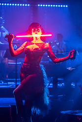 Edinburgh, Scotland, United Kingdom. 21November, 2017. Cabaret group La Clique present their Christmas show Le Clique Noel at the Spiegeltent in Edinburgh as part of the city's annual Christmas festivities. Heather Holliday performs her sword-swallowing act.