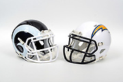 A view of Los Angeles Rams and Los Angeles Chargers helmets on Thursday, November 2, 2017. (Kirby Lee via AP)