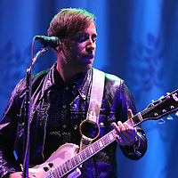 "Patrick Carney (drums) and Dan Auerbach of the band The Black Keys perform during their ""Turn Blue Tour 2014"" at the Amway Arena on Wednesday, December 17, 2014 in Orlando, Florida. (AP Photo/ Alex Menendez)"
