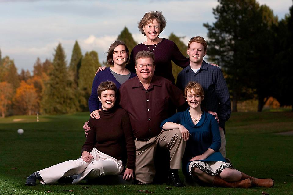 Family Portrait taken at the golf course.  San Antonio Family photographer.