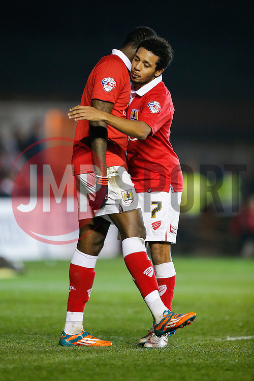Jay Emmanuel-Thomas of Bristol City celebrates with Korey Smith scoring a goal to make it 3-0 - Photo mandatory by-line: Rogan Thomson/JMP - 07966 386802 - 17/03/2015 - SPORT - FOOTBALL - Bristol, England - Ashton Gate Stadium - Bristol City v Crewe Alexandra - Sky Bet League 1.