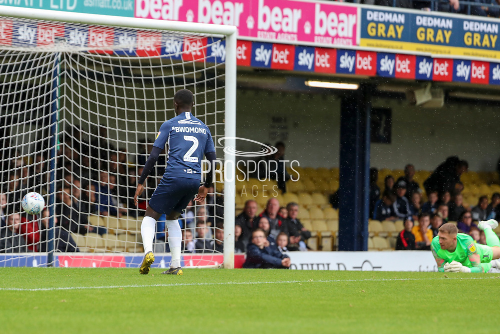 AFC Wimbledon attacker Marcus Forss (15) scoring goal to make it 0-1 during the EFL Sky Bet League 1 match between Southend United and AFC Wimbledon at Roots Hall, Southend, England on 12 October 2019.
