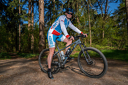 Jessica in training in special Spanish cycling clothes, because they are going to cycle together with Spanish cyclists for the fifth time in a row, for the challenge WeBike2ChangeDiabetes in Soria & Navarra 2020 at the MTB track Lage Vuursche on April 19, 2020 in Lage Vuursche, Netherlands