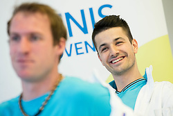 Grega Zemlja and Mike Urbanija during press conference of Slovenian National Men Tennis Team before Davis Cup against South Africa Republic, on March 30, 2017 in Ljubljana, Slovenia. Photo by Vid Ponikvar / Sportida