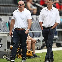 Eduard Coetzee with Gary Teichmann (Chief executive officer) of the Cell C Sharks during the Super Rugby match between the Cell C Sharks and the Western Force at Growthpoint Kings Park on May 06, 2017 in Durban, South Africa. (Photo by Steve Haag)