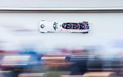 21.02.2016, Olympiaeisbahn Igls, Innsbruck, AUT, FIBT WM, Bob und Skeleton, Herren, Viererbob, 3. Lauf, im Bild Chris Spring, Joshua Kirkpatrick, Lascelles Brown, Samuel Giguere (CAN) // Chris Spring Joshua Kirkpatrick Lascelles Brown Samuel Giguere of Canada compete during Four-Man Bobsleigh 3rd run of FIBT Bobsleigh and Skeleton World Championships at the Olympiaeisbahn Igls in Innsbruck, Austria on 2016/02/21. EXPA Pictures © 2016, PhotoCredit: EXPA/ Johann Groder