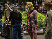 Katie Green, (  designer; ) Demi Scott, Models from Amo casting modeling clothes by Keji in Soho, September 2016