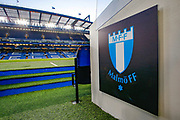 General stadium view inside Stamford Bridge, inside the tunnel showing the Malmo club badge, before the Europa League match between Chelsea and Malmo FF at Stamford Bridge, London, England on 21 February 2019.