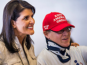 "15 JUNE 2019 - BOONE, IOWA: Former UN Ambassador NIKKI HALEY poses for pictures at ""Joni's Roast and Ride,"" an annual fund raiser held by US Senator Joni Ernst (R-IA). Ernst, Iowa's junior US Senator, kicked off her re-election campaign during the ""Roast and Ride"", an annual fund raiser and campaign event has she held since originally being elected to the US Senate in 2014.      PHOTO BY JACK KURTZ"