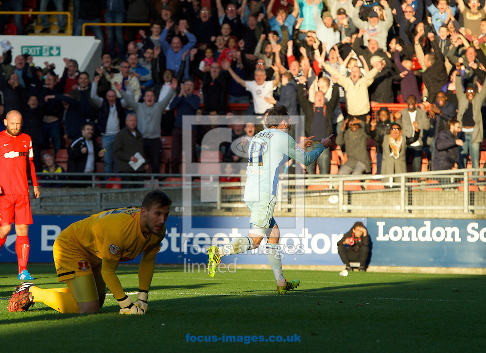 Jim O'Brien (11) of Coventry City celebrates after scoring the opening goal while goalkeeper Gary Woods of Leyton Orient looks to the net during the Sky Bet League 1 match at the Matchroom Stadium, London<br /> Picture by Alan Stanford/Focus Images Ltd +44 7915 056117<br /> 01/11/2014