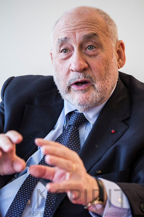 Joseph Eugene Stiglitz, American economist professor at Columbia University and winner of Nobel Memorial Prize in Economic Sciences during an interview at Royal Albert Hall in Brussels 14 April 2016. Photo: Erik Luntang