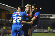 Doncaster celebrate Curtis Main's goal, their fith during the Sky Bet League 1 match between Crawley Town and Doncaster Rovers at Broadfield Stadium, Crawley, England on 10 February 2015. Photo by Michael Hulf.