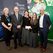 27.04.2016.          <br />  Kalin Foy and Ciara Coyle win SciFest@LIT<br /> Kalin Foy and Ciara Coyle from Colaiste Chiarain Croom to represent Limerick at Ireland's largest science competition.<br /> <br /> Colaiste Chiarain Croom students, Kalin Foy and Ciara Coyles project ,To design and manufacture wireless trailer lights, won Technology, Intermed/senior first. Kalin Foy and Ciara Coyle are pictured with George Porter, SciFest and Brian Ahern, Intel<br /> <br /> Of the over 110 projects exhibited at SciFest@LIT 2016, the top prize on the day went to Kalin Foy and Ciara Coyle from Colaiste Chiarain Croom for their project, 'To design and manufacture wireless trailer lights'. The runner-up prize went to a team from John the Baptist Community School, Hospital with their project on 'Educating the Youth of Ireland about Farm Safety'.. .Picture: Alan Place