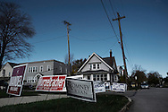 OHIO, Toledo, October 27, 2012:  Election signs in front the polling station for early voting in Toledo. ALESSIO ROMENZI