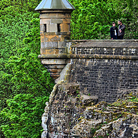 Sentry Box on Bastion in Luxembourg City, Luxembourg <br /> This sentry box on an ancient bastion overlooks a deep gorge that contains the Pfaffenthal Quarter and the Alzette River.  It is found along Boulevard Victor Thorn.