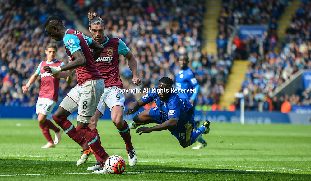 17.04.2016. King Power Stadium, Leicester, England. Barclays Premier League. Leicester City versus West Ham. Jeffrey Schlupp of Leicester City is taken down inside the box by Andy Carroll leading to a Leicester City penalty.