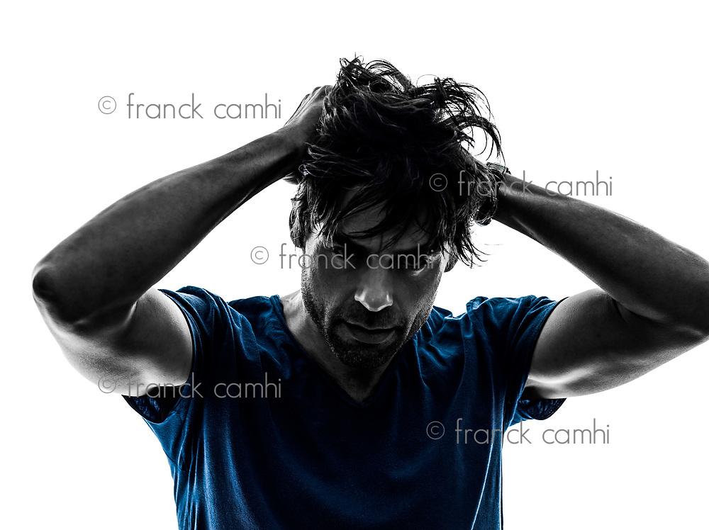 one  stubble man headache hangover despair on white background silhouette