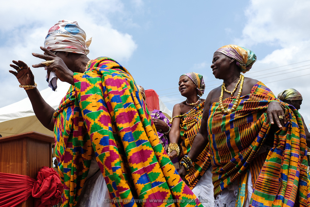 Queen Mothers dancing at a swearing-in ceremony for newly elected members of their council in Accra, Ghana on 23 June 2015. A queen mother is a traditional female leader, drawn from the relevant chiefly lineage, who is responsible for women's and children's issues in particular. Though often widely respected and sometimes powerful, especially in matrilineal ethnic groups, their authority is subject to a male chief. After being suppressed during the colonial era, the role of queen mother is being revived in Ghana and is seen by many as a force for development.