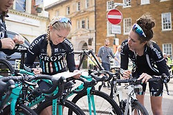 Jennifer George (GBR) of Drops Cycling Team prepares for the Aviva Women's Tour 2016 - Stage 5. A 113.2 km road race from Northampton to Kettering, UK on June 19th 2016.
