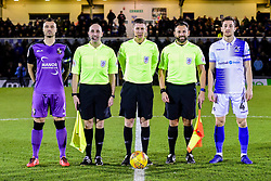 Antony Kay of Port Vale and match officials with Tom Lockyer of Bristol Rovers - Mandatory by-line: Ryan Hiscott/JMP - 22/01/2019 - FOOTBALL - Memorial Stadium - Bristol, England - Bristol Rovers v Port Vale - Checkatrade Trophy
