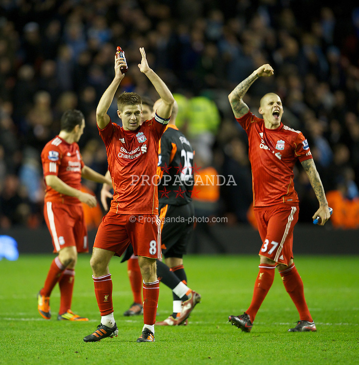 LIVERPOOL, ENGLAND - Wednesday, January 25, 2012: Liverpool's captain Steven Gerrard celebrates his side's 3-2 aggregate victory over Manchester City during the Football League Cup Semi-Final 2nd Leg at Anfield. (Pic by David Rawcliffe/Propaganda)