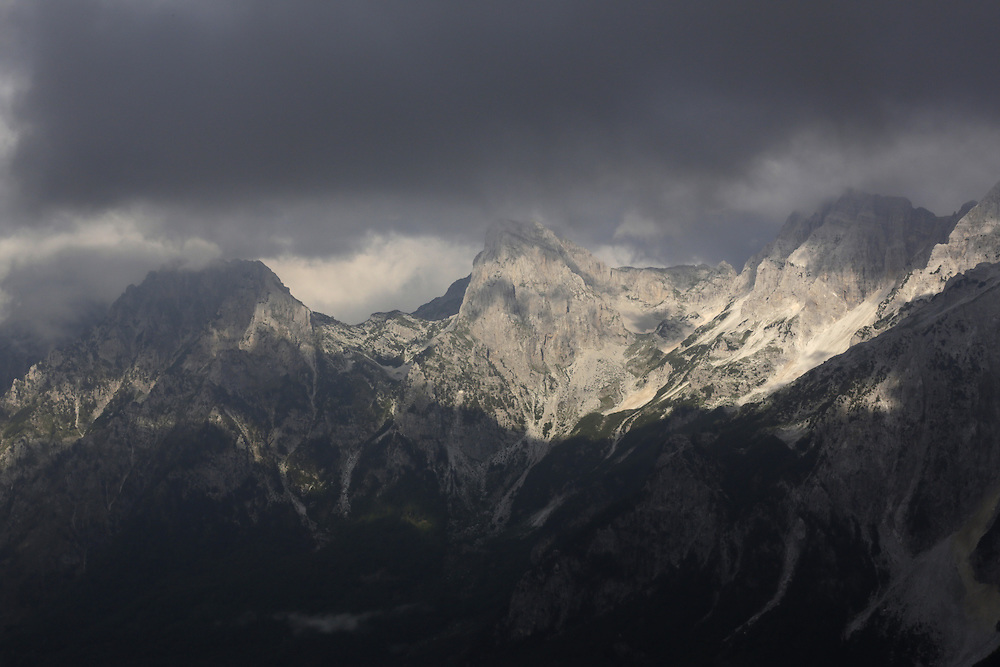 Harushes peak, 2424m, visible in the middle, Valbona, Albania.<br /> View from Qafa e Valbones pass, 1805m, between Valbona and Theth valleys, Albania.