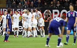 17.07.2011, Commerzbankarena, Frankfurt, GER, FIFA Women Worldcup 2011, Finale,  Japan (JPN) vs. USA (USA), im Bild:  .USA jubelt - Japan entaeuscht / entäuscht / traurig .. // during the FIFA Women Worldcup 2011, final, Japan vs USA on 2011/07/11, FIFA Frauen-WM-Stadion Frankfurt, Frankfurt, Germany.   EXPA Pictures © 2011, PhotoCredit: EXPA/ nph/  Mueller       ****** out of GER / CRO  / BEL ******