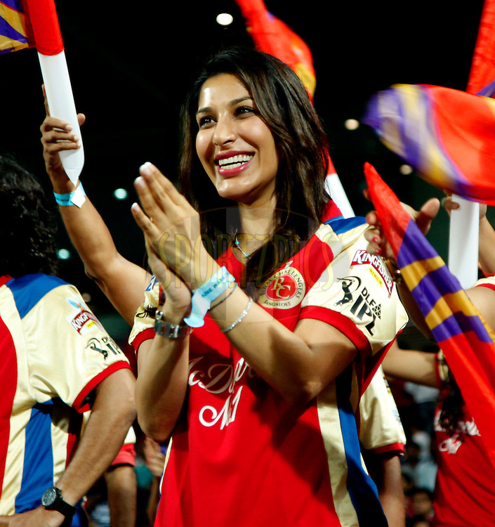 Actor Sophie Chaudary during match 57 of the the Indian Premier League ( IPL) 2012  between The Pune Warriors India and the Royal Challengers Bangalore held at the Subrata Roy Sahara Stadium, Pune on the 11th May 2012..Photo by Sandeep Shetty/IPL/SPORTZPICS