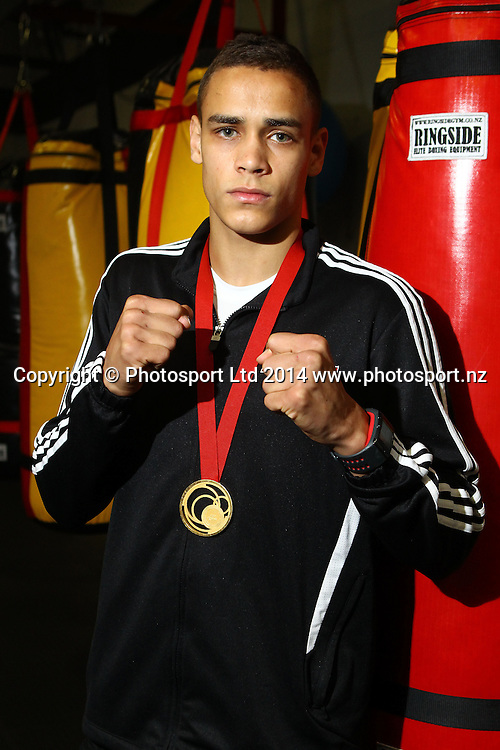 Joseph Parker meets David Nyika (Pictured), Glasgow Commonwealth Games Gold Medallist, ahead of the Duco Events boxing Heavyweight Explosion, Joseph Parker v Sherman 'Tank' Williams scheduled for 16 October. Hamilton. 26 August 2014. Photo: William Booth/www.photosport.co.nz