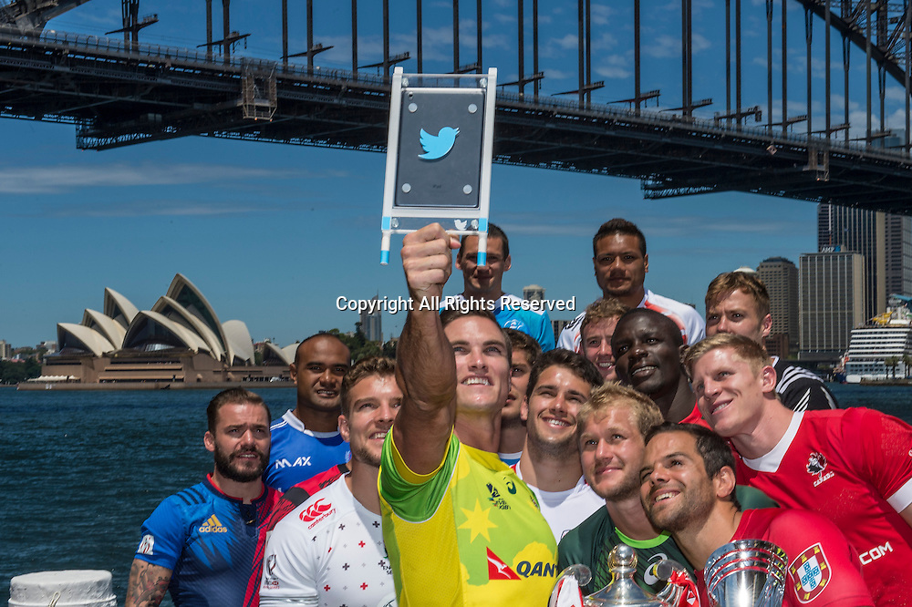 03.02.2016. Sydney, Australia. HSBC Rugby World Cup Sevens. The 16 captains of the rugby world cup sevens teams in front of the Sydney Harbour Bridge before the start of the tournament.