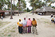Solar engineers and members of the village energy commitee in  Chekeleni village, near Mtwara, Tanzania...left to right; Sofia, Fatuma, Arafa and Fatuma..The Barefoot Solar project enables women from the poorest communities in rural Tanzania to run successful businesses by installing, repairing and maintaining solar equipment for their communities and beyond...VSO volunteer Lesley Reader project manages the scheme by liaising with the Tanzanian government, Barefoot college and the Indian government.