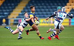 Ollie Lawrence (Bromsgrove School) of Worcester Warriors Under 18s is tackled - Mandatory by-line: Robbie Stephenson/JMP - 14/01/2018 - RUGBY - Sixways Stadium - Worcester, England - Worcester Warriors Under 18s v Yorkshire Carnegie Under 18s - Premiership Rugby U18 Academy