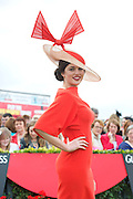 02/08/2012. Repro free first use.Sporting a hat of her own design, Aisling Ahern from Knockvickar, Boyle, Co. Roscommon was the winner of the Anthony Ryan's Best Hat Competition. The winning hat had an almond shape base with burnt orange structured bow. Photo:Andrew Downes..