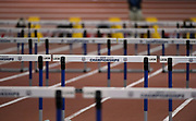 Mar 3, 3017; Albuquerque, NM, USA; General overall view of the hurdles during the USA Indoor Track and Field championships at the Albuquerque Convention Center.