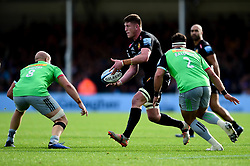 Jacques Vermeulen of Exeter Chiefs is marked by Tom Lawday of Harlequins and Scott Baldwin of Harlequins - Mandatory by-line: Ryan Hiscott/JMP - 19/10/2019 - RUGBY - Sandy Park - Exeter, England - Exeter Chiefs v Harlequins - Gallagher Premiership Rugby