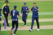 Tom Helm of Middlesex celebrates the wicket of James Vince  during the Royal London One Day Cup match between Hampshire County Cricket Club and Middlesex County Cricket Club at the Ageas Bowl, Southampton, United Kingdom on 23 April 2019.