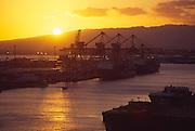 Sunset, Honolulu Harbor, Oahu, Hawaii<br />