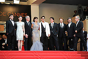 CANNES, FRANCE - MAY 14: (L-R) Actors Sam Claflin,Astrid Berges-Frisbey,Geoffrey Rush,Penelope Cruz,Johnny Depp, director Rob Marshall, producer Jerry Bruckheimer and actor Ian McShane attend the 'Pirates of the Caribbean: On Stranger Tides' premiere at the Palais des Festivals during the 64th Cannes Film Festival on May 14, 2011 in Cannes, France