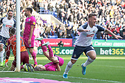 Bolton Wanderers midfielder Ali Crawford celebrates his goal during the EFL Sky Bet League 1 match between Bolton Wanderers and Rochdale at the University of  Bolton Stadium, Bolton, England on 19 October 2019.