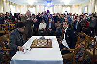 Zuerich, 01.02.2014, Zurich Chess Challenge 2014, Hikaru Nakamura (Grand Master USA) vs Magnus Carlsen (Worldchampion and Grand Master Norway). (Gonzalo Garcia/EQ Images)